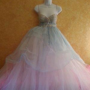 Cinderella Blue Babydoll Tulle Wedding Ballgown